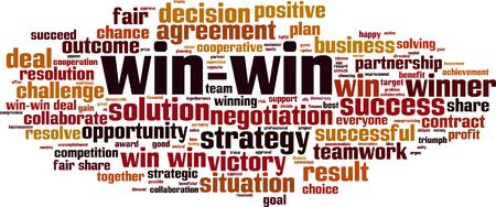 Win-win word cloud concept. Vector illustration Foto de archivo - 127013208
