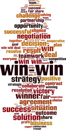 Win-win word cloud concept. Vector illustration Foto de archivo - 127013209