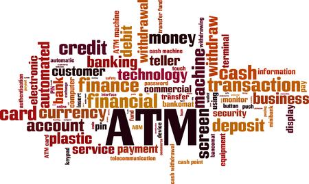 ATM word cloud concept. Vector illustration