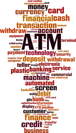 ATM word cloud concept. Vector illustration