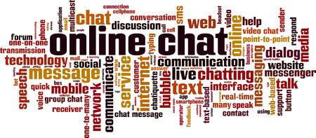 Online chat word cloud concept. Vector illustration Stock Illustratie