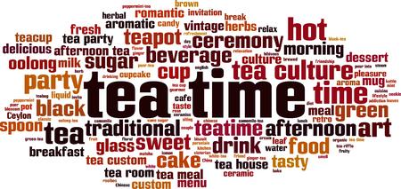 Tea time word cloud concept. Vector illustration