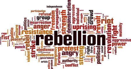 Concepto de nube de word de rebelión. Ilustración vectorial