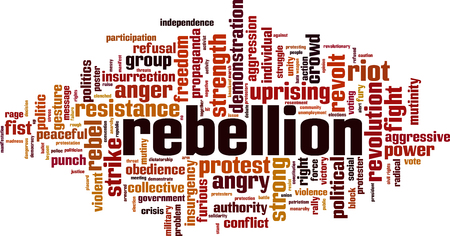 Rebellion word cloud concept. Vector illustration
