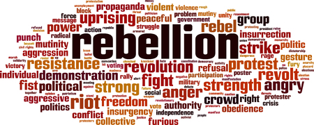 Rebellion word cloud concept. Vector illustration