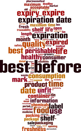 Best before word cloud concept. Vector illustration