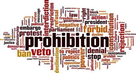 Prohibition word cloud concept. Vector illustration