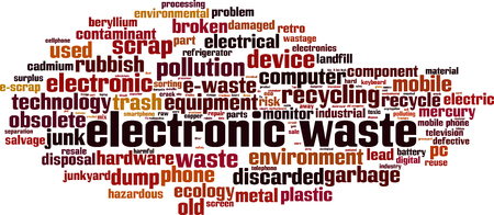 Electronic waste word cloud concept. Vector illustration