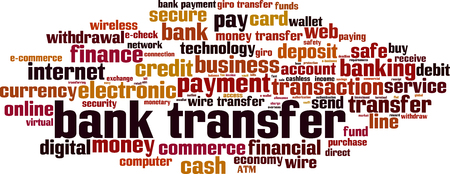 Bank transfer word cloud concept. Vector illustration