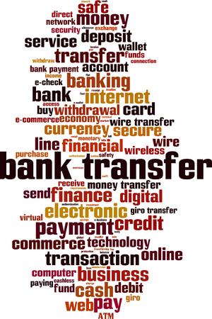 Bank transfer word cloud concept. Vector illustration