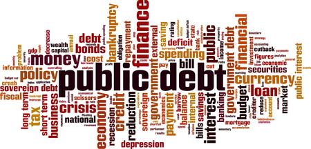 Public debt word cloud concept. Vector illustration  イラスト・ベクター素材