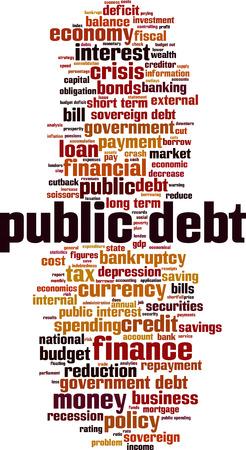 Public debt word cloud concept. Vector illustration Ilustración de vector