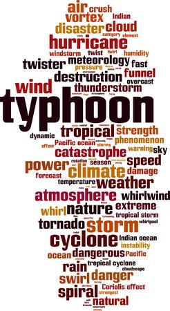 Typhoon word cloud concept. Vector illustration