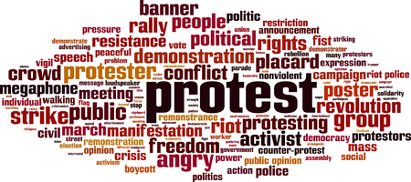 Protest word cloud concept. Vector illustration