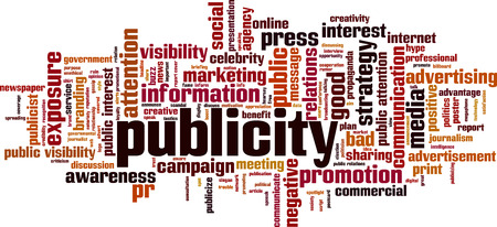 Publicity word cloud concept. Vector illustration