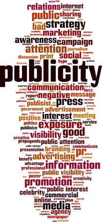 Publicity word cloud concept. Vector illustration