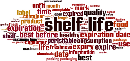 Shelf life word cloud concept. Vector illustration