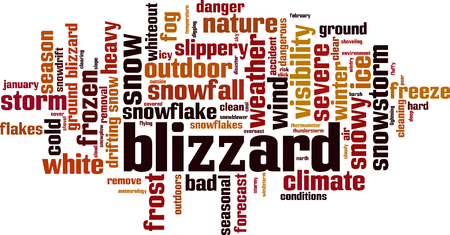 Blizzard word cloud concept. Vector illustration