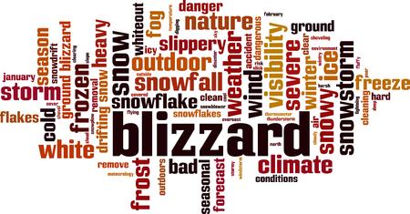 Blizzard-Wort-Cloud-Konzept. Vektor-Illustration