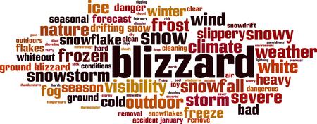 Blizzard word cloud concept. Vector illustration
