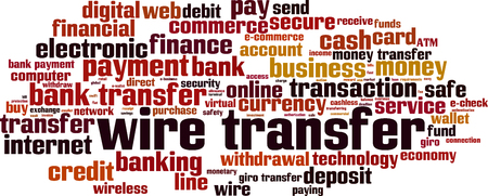 Wire transfer word cloud concept. Vector illustration