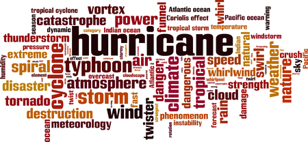 Hurricane word cloud concept. Vector illustration Stock Illustratie