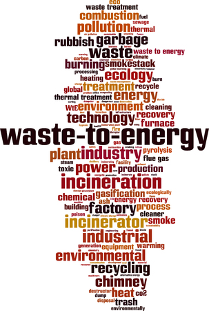 Waste to energy word cloud concept. Vector illustration