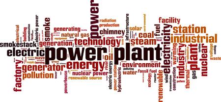 Concepto de nube de word de planta de energía. Ilustración vectorial