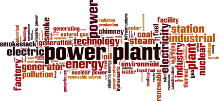 Power plant word cloud concept. Vector illustration