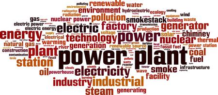 Power plant word cloud concept. Vector illustration