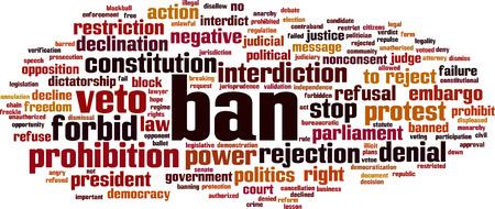 Ban word cloud concept. Vector illustration Illustration