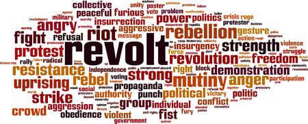 Concept de nuage de mot révolte. Illustration vectorielle Vecteurs