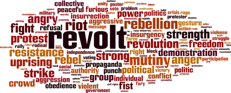 Concepto de nube de word de rebelión. Ilustración vectorial Ilustración de vector