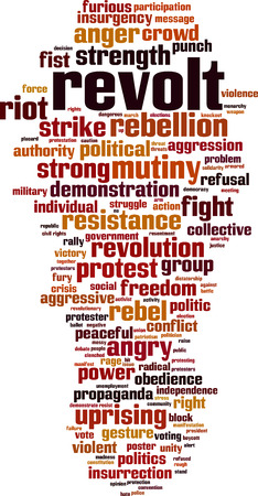 Revolt word cloud concept. Vector illustration