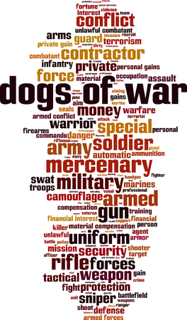 Dogs of war word cloud concept. Vector illustration