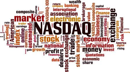 NASDAQ word cloud concept. Vector illustration Illustration