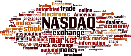 NASDAQ word cloud concept. Vector illustration 일러스트