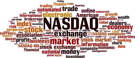 NASDAQ-Wortwolkenkonzept. Vektor-Illustration