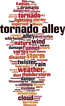 Tornado alley word cloud concept. Vector illustration