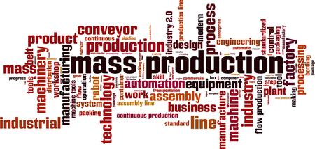 Mass production word cloud concept. Vector illustration