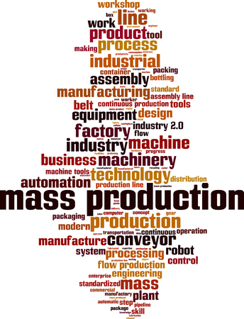 Mass production word cloud concept. Vector illustration