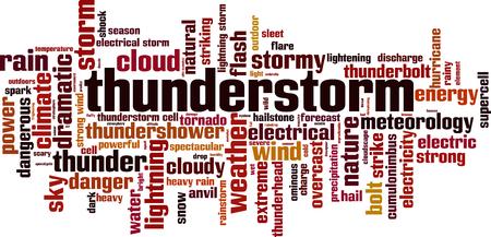 Thunderstorm word cloud concept. Vector illustration Illustration