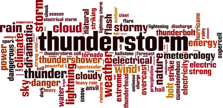 Thunderstorm word cloud concept. Vector illustration Stock Illustratie