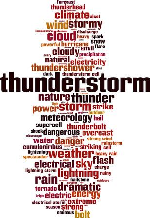 Thunderstorm word cloud concept. Vector illustration  イラスト・ベクター素材