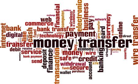 Concept de nuage de mots de transfert d'argent. Illustration vectorielle Vecteurs