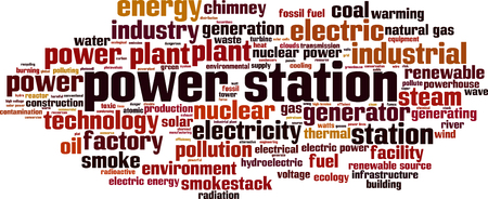Power station word cloud concept. Vector illustration