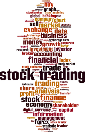 Stock trading word cloud concept. Vector illustration