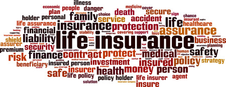 Life insurance word cloud concept. Vector illustration
