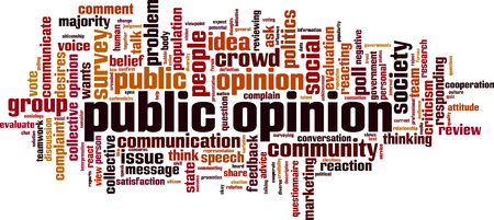 Public opinion word cloud concept. Vector illustration Stock Illustratie