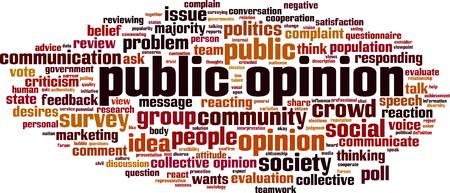 Public opinion word cloud concept. Vector illustration Illustration